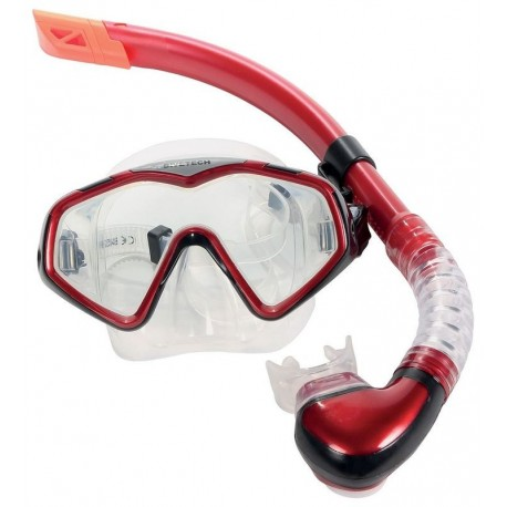 Divetech PRO Cayman Silicone Mask & Snorkel - Met Red / Black